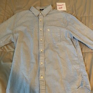 Light blue and white striped button down